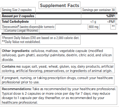Theracurmin_Supplement Facts